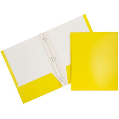 JAM Paper® 2 Pocket Laminated Glossy School Folders with Tang Fastener Clips, Yellow, 25/Pack (385GCYED)