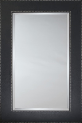 Mirror Image Home Mirror Style 80925 - Black Leather Flat Face; 24.5 x 28.5