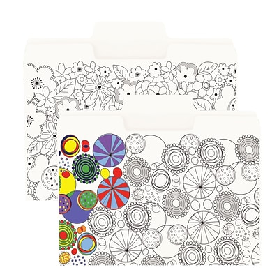 Smead SuperTab® Coloring Folder, Oversized 1/3-Cut Tabs, Letter Size, 2 Designs, 6 per Pack (11647)