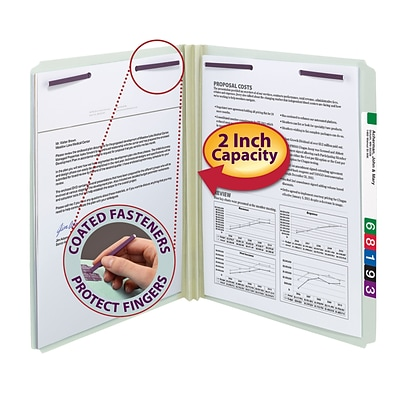 Smead® Pressboard Straight Cut File Folders, 2-Fasteners w/SafeSHIELD, 2 Expansion, Letter, Gray/Green, 25/Bx (14910)
