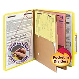 Smead® Pressboard 2/5-Cut Tab Classification Folders, 6-Fasteners, 2 Pocket Partitions, Letter, Yell