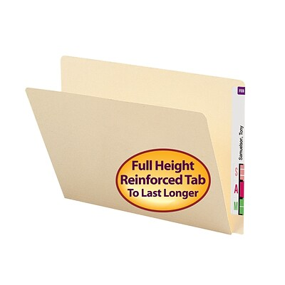 Smead® Straight-Cut, 14 pt. Manila Extended-Tab Folder, Letter Size, Single-Ply Tab
