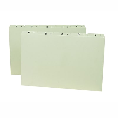 Smead Pressboard Guides, Plain 1/5-Cut Tab (A-Z), Legal Size, Gray/Green, 25/Set (52376)