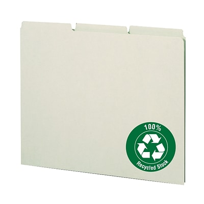 Smead® Top-Tab File Guides with Blank Tabs, Green Pressboard, 3 Tab, Letter Size, 100/Box