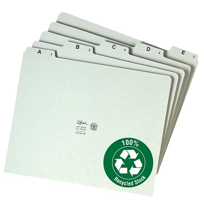 Smead® 100% Recycled Pressboard 5-Tab Filing Guides, Plain Tab (A-Z), Letter, Gray/Green, 25/St (50376)