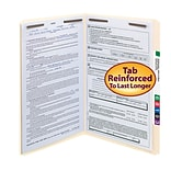 Smead® Reinforced Straight Cut File Folders, 2-Fasteners, Legal, Manila, 50/Bx (19513)