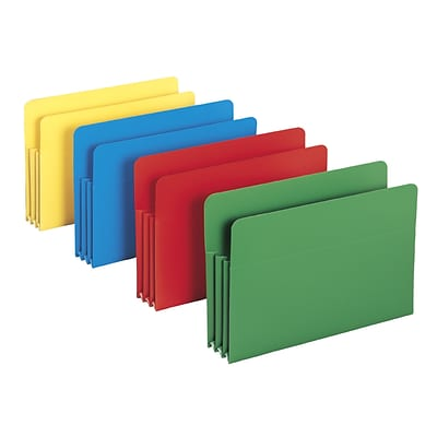 Smead® Straight Cut Poly File Pockets, 3-1/2 Expansion, Legal, Assorted, 4/Pk (73550)