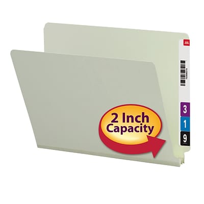 Smead®  End Tab Pressboard File Folder, Straight-Cut Tab, 2 Expansion, Letter Size, Gray/Green, 25 per Box (26210)