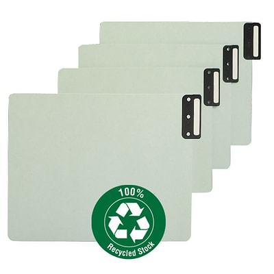 Smead® End Tab 100% Recycled Pressboard Guides; Vertical Metal Tab (Blank), Extra Wide Letter Size, Gray/Green (61635), 50/Box