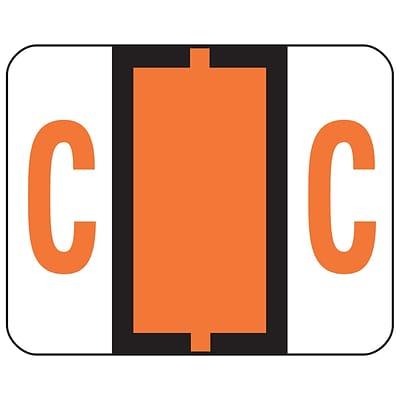 Smead® BCCR Bar-Style Color-Coded Alphabetic Labels, C, Dark Orange, 1x1-1/4, 500 Labels