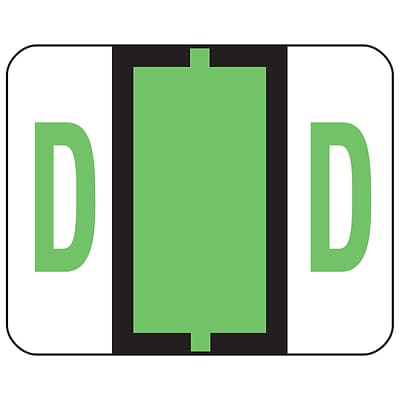 Smead® BCCR Bar-Style Color-Coded Alphabetic Labels, D, Light Green, 1x1-1/4, 500 Labels