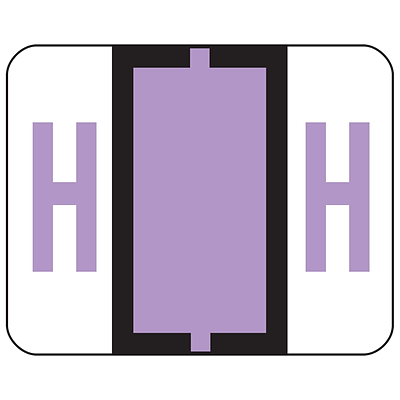 Smead® BCCR Bar-Style Color-Coded Alphabetic Labels, H, Label Roll, Lavender, 500/Pk, (67078)