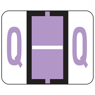 Smead® BCCR Bar-Style Color-Coded Alphabetic Labels, Q, Label Roll, Lavender, 500/Pk (67087)
