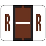 Smead® BCCR Bar-Style Color-Coded Alphabetic Labels, R, Label Roll, Brown, 500/Pk, (67088)