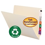 Smead Shelf-Master 100% Recycled Reinforced End-Tab File Folders, Letter, Manila, 100/Bx (24160)
