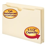 Smead® File Jacket, Reinforced Tab, 1-1/2 Expansion, Legal Size, Manila, 50/Box (76540)