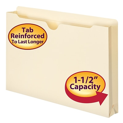 Smead® Reinforced File Jackets, 1-1/2 Expansion, Legal, Manila, 50/Bx (76540)