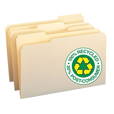 Smead® 100% Recycled 3-Tab File Folders, Legal, Manila, 100/Bx (15339)