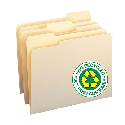 Smead® 100% Recycled 3-Tab File Folders, Letter, Manila, 100/Bx (10339)