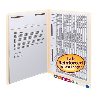 Smead® Shelf-Master Reinforced End-Tab File Folders, 2-Fasteners, Letter, Manila, 50/Bx (34120)