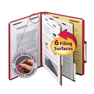 Smead® Pressboard Classification File Folder with SafeSHIELD® Fasteners, 2 Dividers, 2 Exp., Letter