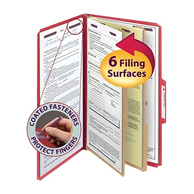 Smead® Pressboard Classification File Folder with SafeSHIELD® Fasteners, 2 Dividers, 2 Exp., Legal, Bright Red, 10/Box (19031)