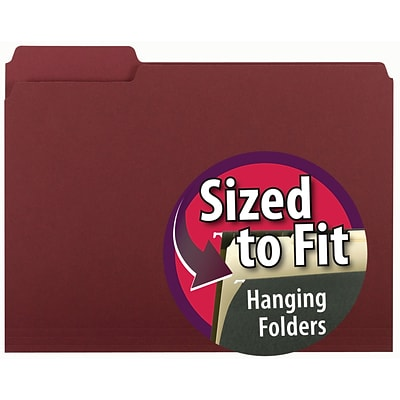 Smead® Interior 3-Tab Colored File Folders, Letter, Maroon, 100/Bx (10275)