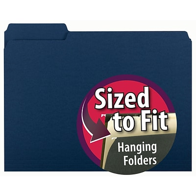 Smead File Folder, 3 Tab, Letter Size, Navy, 100/Box (10279)