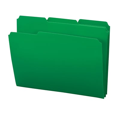 Smead® 3-Tab Poly Colored File Folders, Letter, Green, 24/Bx (10502)