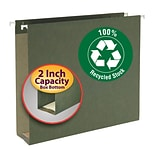 Smead® 100% Recycled Hanging Box Bottom File Folders, Letter, 2 Expansion, Standard Green, 25/Bx (6