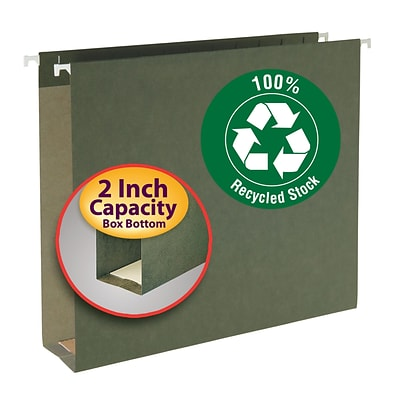 Smead® 100% Recycled Hanging Box Bottom File Folder, 2 Expansion, Letter Size, Standard Green, 25/Box (65090)