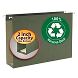 Smead® 100% Recycled Hanging Box Bottom File Folders, Legal, 2 Expansion, Standard Green, 25/Bx (65