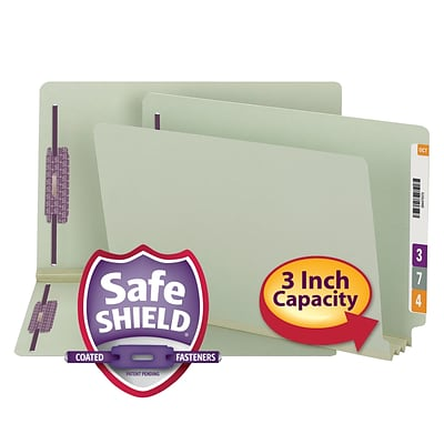 Smead End Tab Psbd Fastener Folder with SafeSHIELD®, 2 Fasteners, 3 Expansion, Legal Size, Gray/Green, 25 per Box (37725)