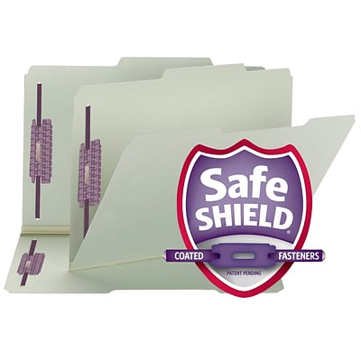 Smead® Pressboard 2/5-Cut Tab File Folders, Right of Center Position, 2-Fastener, 1 Expansion, Legal, Gray/Green, 25/Bx (19980)