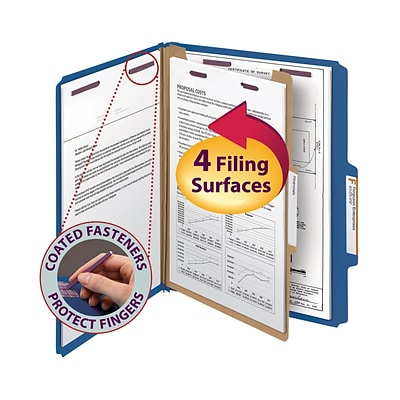 Smead® Pressboard Classification File Folder with SafeSHIELD® Fasteners, 1 Divider, 2 Exp., Letter, Dark Blue, 10/Box (13732)
