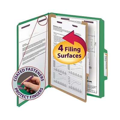 Smead® Pressboard Classification File Folder with SafeSHIELD® Fasteners, 1 Divider, 2 Exp., Letter, Green, 10/Box (13733)