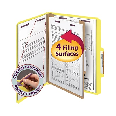 Smead® Pressboard Classification Folder with SafeSHIELD® Fasteners, 1 Divider, 2 Exp., Letter, Yellow, 10/Box (13734)