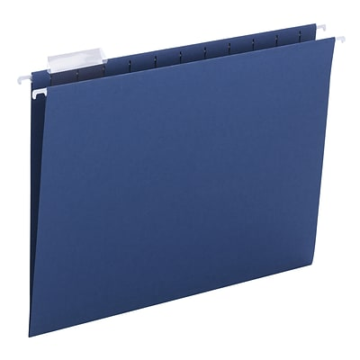 Smead® Adjustable 5-Tab Colored Hanging File Folders, Letter, Navy, 25/Bx (64057)
