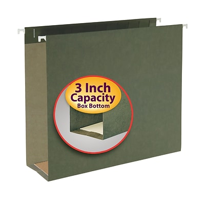 Smead® Hanging Box Bottom File Folder, 3 Expansion, Letter Size, Standard Green, 25/Box (64279)