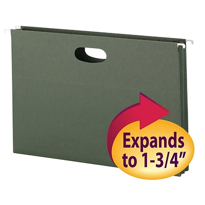 Smead® Hanging File Pockets, 1-3/4 Expansion, Legal, Green, 25/Bx (64318)