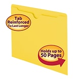 Smead File Jacket, Reinforced Straight-Cut Tab, Flat-No Expansion, Letter Size, Yellow, 100/Box (755