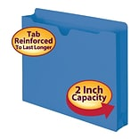 Smead®  File Jacket, Reinforced Straight-Cut Tab, 2 Expansion, Letter Size, Blue, 50 per Box (75562