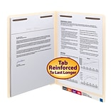 Smead® End-Tab 2-Fastener Folders, Letter Size, 11 pt. Stock, Straight Cut