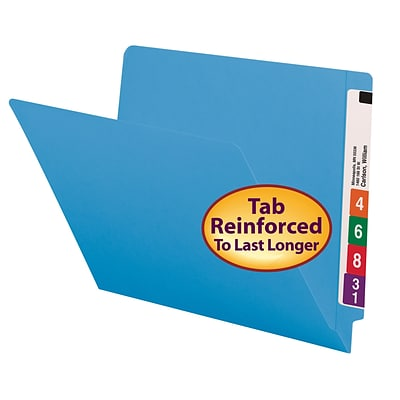 Smead® Shelf-Master Reinforced End-Tab Colored File Folders, Letter, Blue, 100/Bx (25010)