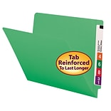 Smead® Colored End Tab Folder, Shelf-Master® Reinforced Straight-Cut, Letter Size, Green, 100/Box
