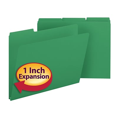 Smead® Pressboard File Folder, 1/3-Cut Tab, 1 Expansion, Letter Size, Green, 25/Box (21546)