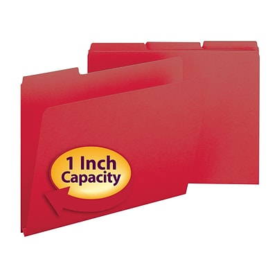 Smead® Pressboard 3-Tab Colored File Folders, 1 Expansion, Letter, Bright Red, 25/Bx (21538)