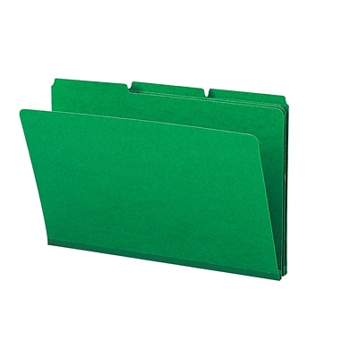 Smead® Pressboard 3-Tab Colored File Folders, 1 Expansion, Legal, Green, 25/Bx (22546)