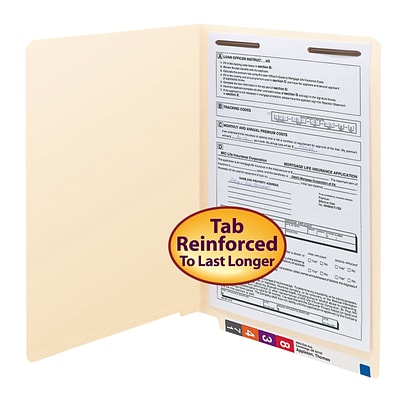 Smead® Shelf-Master Reinforced End-Tab File Folders, 1-Fastener, Legal, Manila, 50/Bx (37110)