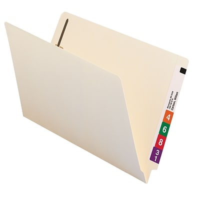 Smead End Tab Fastener File Folder, Shelf-Master Reinforced Straight-Cut Tab, 2 Fasteners, Legal, Manila, 50/Box (37115)